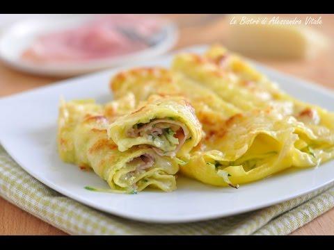 Rotoli di lasagna con zucchine prosciutto e formaggio