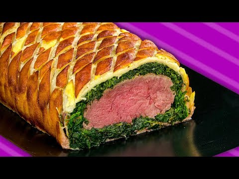 Filetto Wellington in crosta con spinaci e pancetta