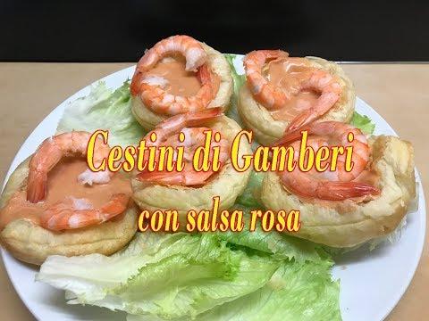 Cestini di Gamberi con Salsa Rosa